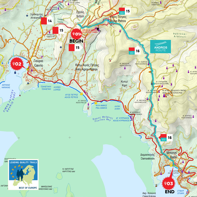 Second day From Gavrio Scholi to Agios Petros Batsi Andros Routes